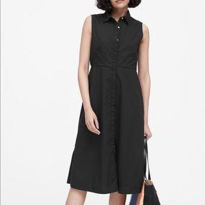 NWT Banana Republic Black Midi Shirt dress. Size 4
